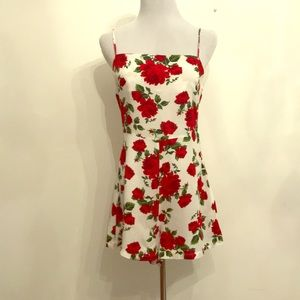 Red Roses Lace Up Back Romper